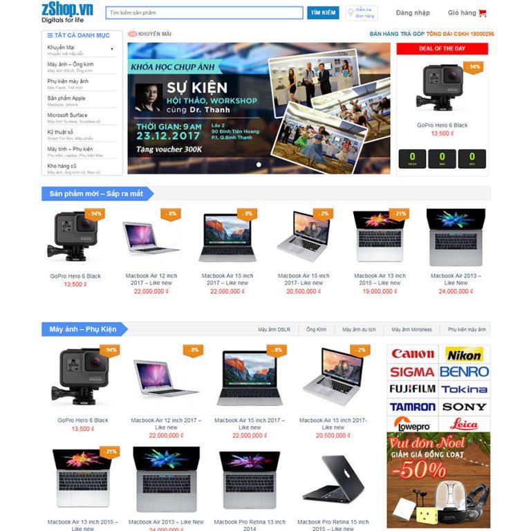 Mẫu web shop đồ công nghệ