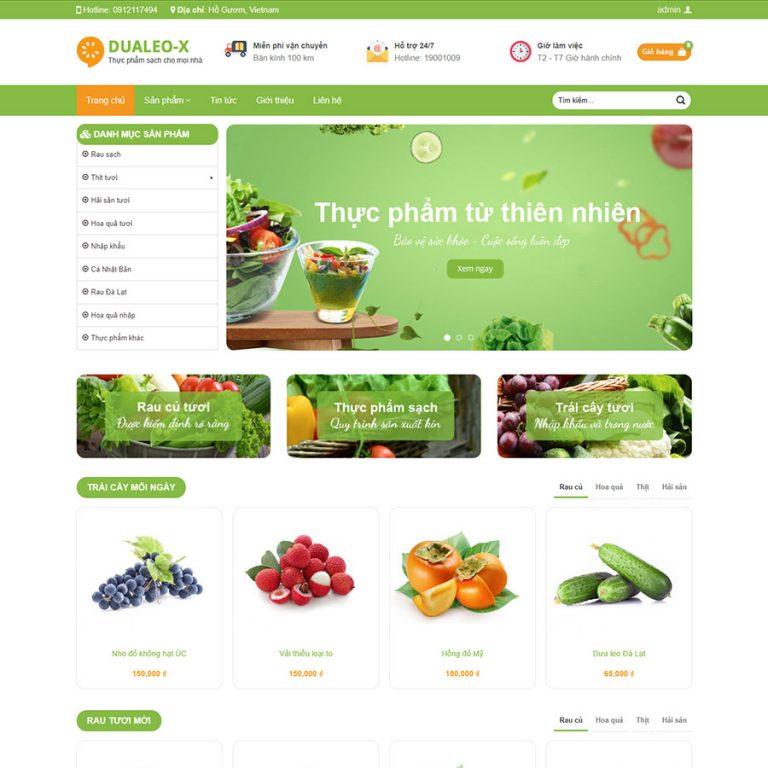 Mẫu web thực phẩm sạch